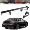 Universal Sedan Adjustable Aluminum Rear Trunk Wing Racing Spoiler W/ LED Light Black