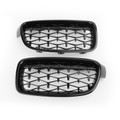 Front Kidney Gloss Black Diamond Grille Grills For BMW F30 328i 335i 12-16 Black