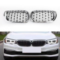 Pair Chrome Diamond Grille For BMW E46 Touring 4-Door BMW E46 Saloon 4-Door 02-05 Facelift Chrome