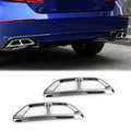 2pcs Steel Rear Cylinder Exhaust Pipe CoverFor Honda Accord 18-19 Silver