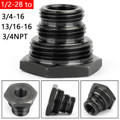 1/2-28 to 3/4-16, 13/16-16, 3/4NPT Automotive Threaded Oil Filter Adapter Black