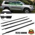 4PCS 75722-60080 Weatherstrip Window Belt Moulding For Toyota Land Cruiser Prado 120 Series 2003-2009 Black