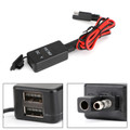 SAE to USB Cable Adaptor Dual USB Motorcycle Cell Phone Charger & Voltmeter Kit Black