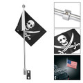 Rear Luggage Rack Mount Pirate Flag Pole For Indian Chief Dark Horse Chrome
