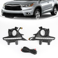 Pair LED Bumper Fog Lights Lamps w/Wiring Kit For Toyota Highlander 14-16 Black