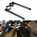 "7/8"" Adjustable Racing Handle Bar 50mm Clip-on For Kawasaki ZX600R NINJA 95-97 ZX600 NINJA 93-02 ZX1000 NINJA 88-90 EX650R NINJA 06-08 FZR750 87-88 Black"