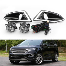 Front Bumper Bezel Fog Lights Lamps w/Harness Switch Kit For Ford Edge 15-18 Black