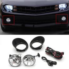 Lens Fog Lights Bumper Lamps+Bulbs Complete Kit For Chevy Camaro LS LT SS 10-13 Black