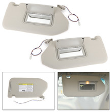 Left+Right Sun Visor Gray For Nissan 13-18 Pathfinder 14-17 Infiniti QX60 w/ Lamp