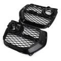 Front Bumper Closed Grid Fog Light Grille Left & Right For BMW X6 E71 12-14 Black