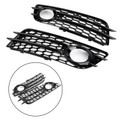 Fog Light Grill Bumper Honeycomb Style For Audi A4 S-LINE S4 2008-2012 Black