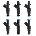 6PCS 4-Hole Upgrade Fuel Injectors For Cherokee Grand Cherokee Black