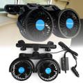 12V Electric Auto Cooling Fan Dual Head Stepless Speed Rear Seat Air Fan Car Fan
