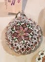 955 MRSC - White background red, green white geometrical ceramic ornament