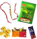 Send Rakhi Online To India Abroad Within USA Shipping America Rakhi With Chocolate and Greeting Card