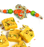 Send-Rakhi-Online-To-India-Abroad-Within-USA-Shipping-America-mauli-rakhi-with-Divine-Om-ganesh-With-sweets