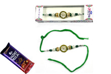 Beautiful Pearl Rakhi With Chocolate Rakhi To India,USA America Buy Online Store-Free Shipping,Cheap Rates,Fast Delivery