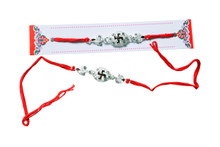 Auspicious Swastik Silver Plated Rakhi Rakhi To India,USA America Buy Online Store-Free Shipping,Cheap Rates,Fast Delivery