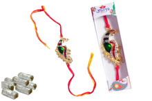 Golden Peacock Rakhi With Sweet Rakhi To India,USA America Buy Online Store-Free Shipping,Cheap Rates,Fast Delivery