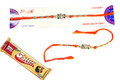 Silver Rakhi With Chocolate
