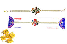 Silver Plated Rakhi With Sweets Rakhi To India,USA America Buy Online Store-Free Shipping,Cheap Rates,Fast Delivery
