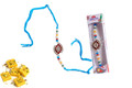Colorful Diamond Rakhi With Soan Papdi