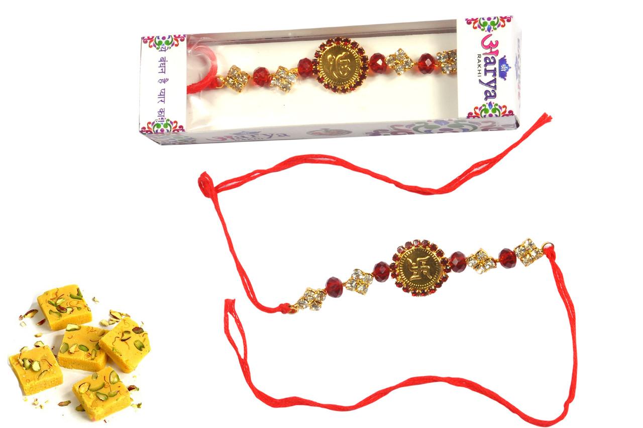 Golden Swastik Rakhi With Sweets Rakhi To India,USA America Online  Store-Free Shipping,Cheap Rates,Kid Rahis