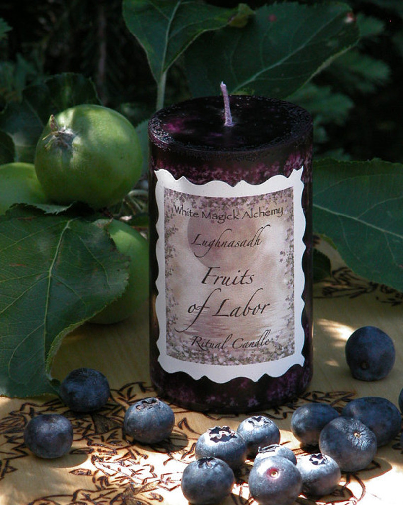 Fruits of Labor . Lammas/Mabon Ritual Candle . Ripened Raspberries, Blackberries and Cherries in a Sweet Sugary Vanilla Cream