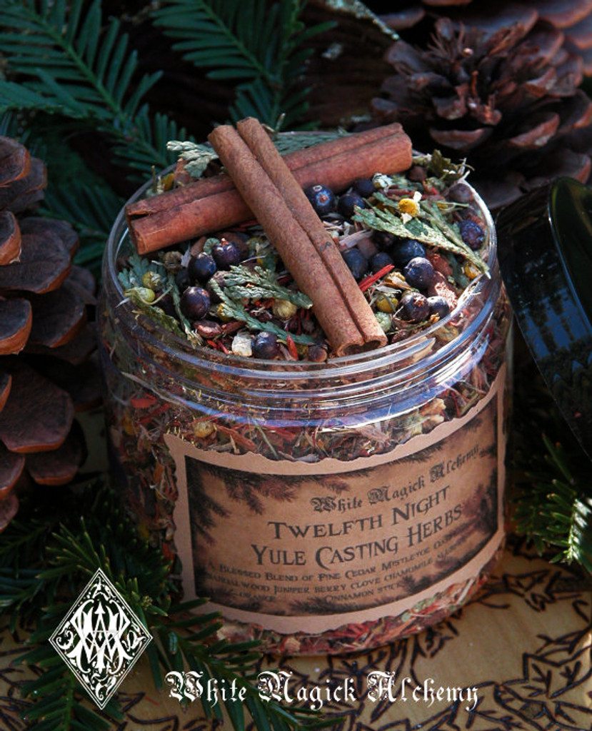 Yule Twelfth Night Casting Herbs . Yule Bonfires Winter Solstice . Traditional Woods, Fruits and Berries