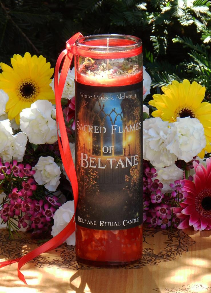 Sacred Flames of Beltane Glass Vigil Candle . Sacred Fertility Rites, Sexual Energy, Divination, Nature Spirit Works