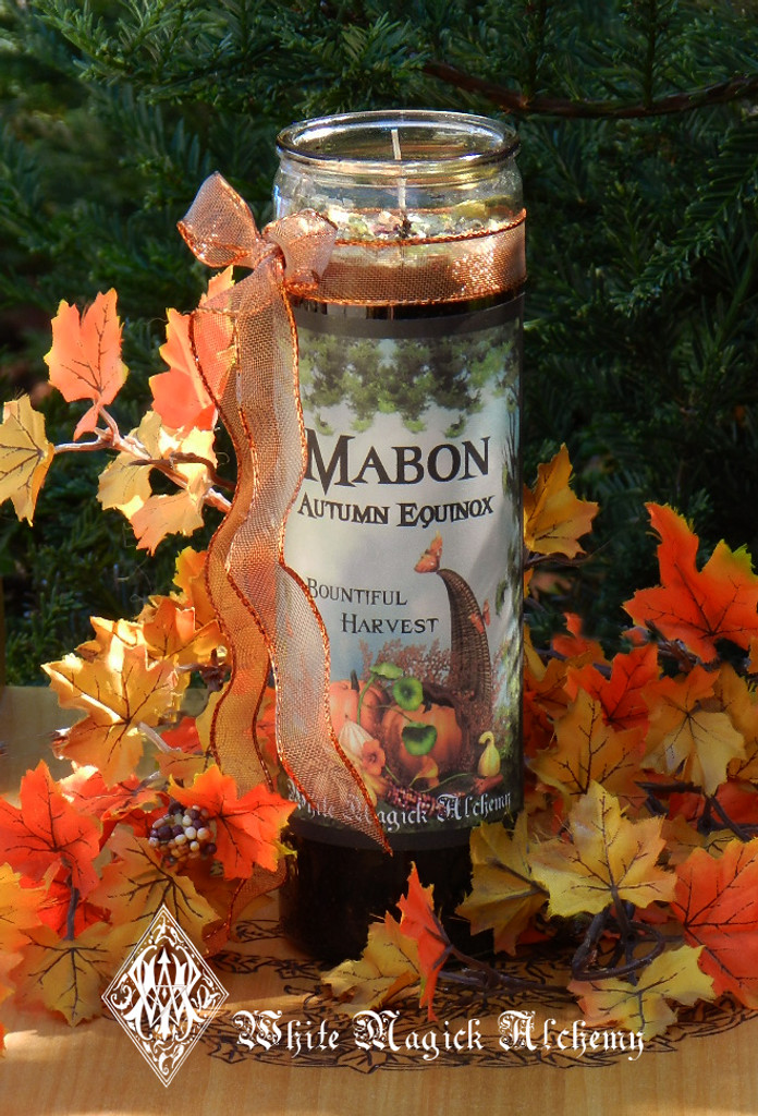 Mabon Autumn Equinox Glass Vigil Candle . Harvest Celebrations and Feasting Tables
