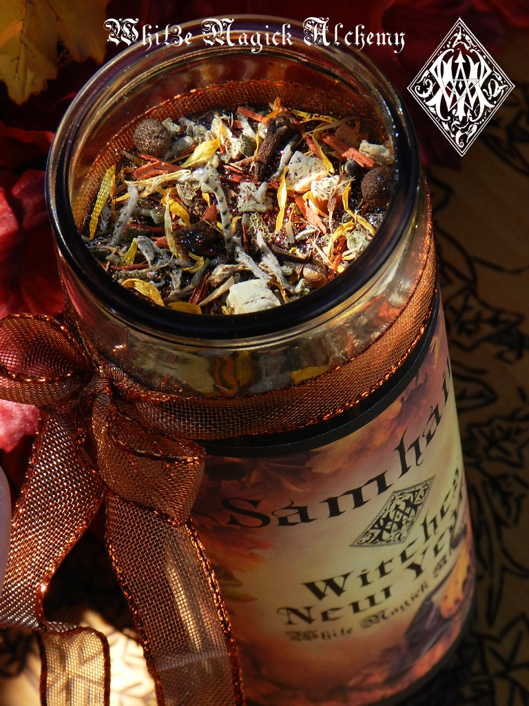 Witches New Year Glass Vigil Candle . Samhain, Halloween, Ancestral Workings, New Beginnings