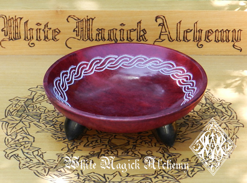 Celtic Stone Offering Bowl Red Bordeaux