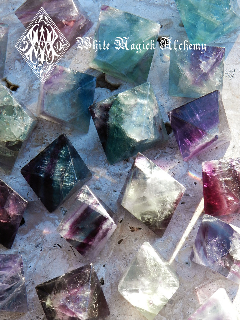Fluorite Octahedron Polished Gemstones