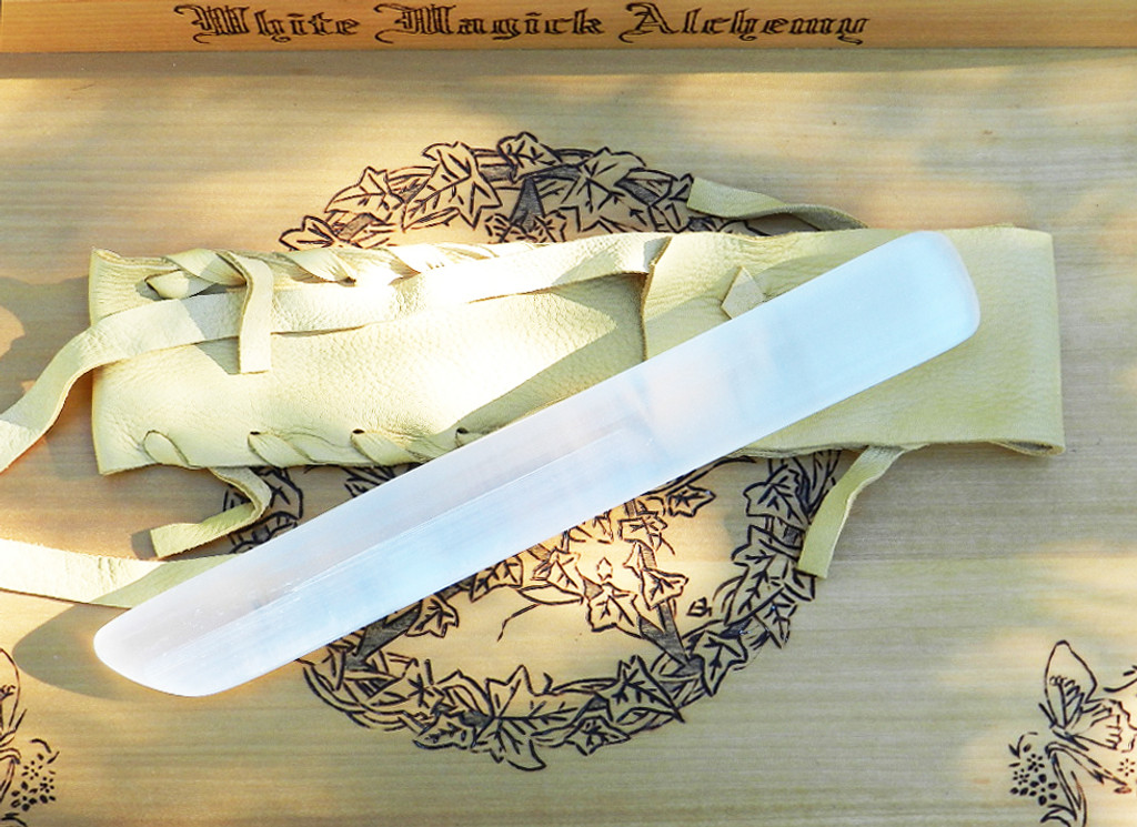 Selenite Gemstone Wand #2. Hand Carved Polished Blade with Natural Buck Leather Pouch