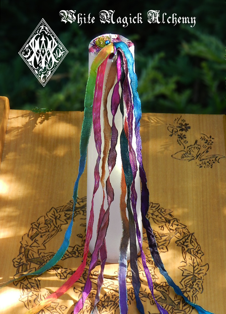 Beltane Ribbons Maypole Torch Light Pillar Candle for 2017 . Flora and Faeries, Beltane, Sex Magic, Fertility