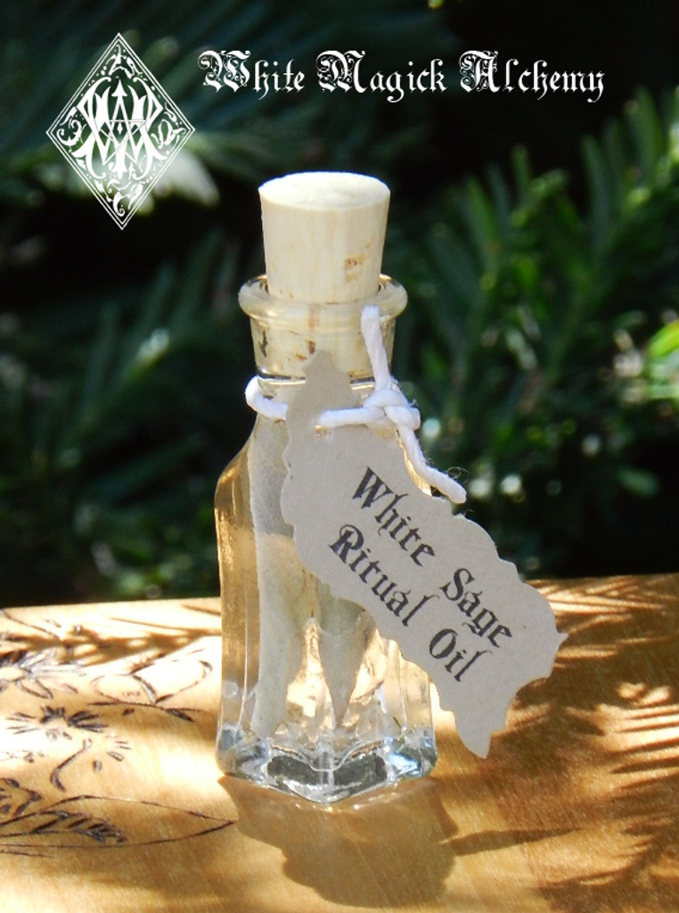 """White Sage """"Alchemist Tree"""" Ritual Oil . Purification, Healing, Wisdom, Immortality, Cleansing, Clearing, Banishing"""