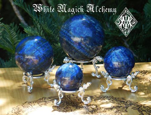 Lapis Lazuli Spheres . Crystal Gemstone Knowledge, Wisdom, Deity Workings, Intuition, Shields Negativity, Evil Eye