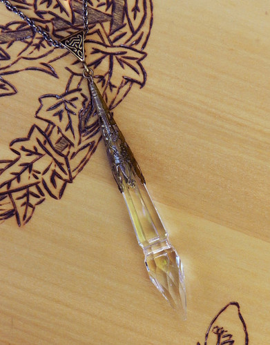 *Witches Wand . Crystal Power Point Prism Wand . Old World Divination Pendulum Necklace . Bronze Filigree Pendant
