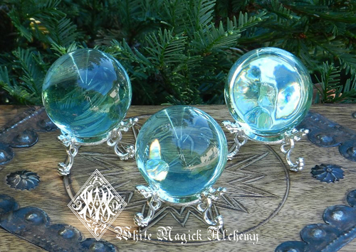 Aqua Aura Obsidian Spheres . Communication, Truth, Spirituality, Protection