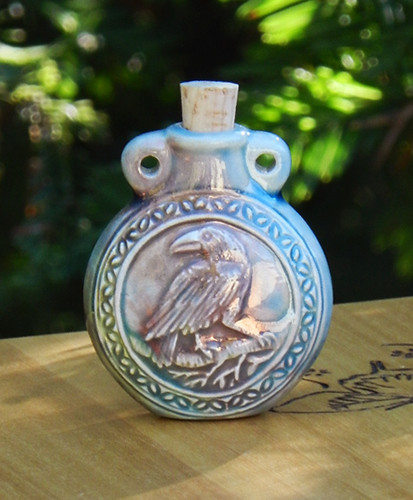 Raven Ceramic Bottle . Spell Oils, Diffuser, Ashes, Pendant