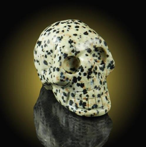 Dalmation Jasper Gemstone Skull