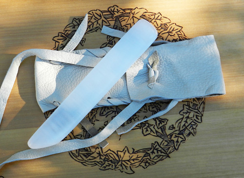 Selenite Gemstone Sword Wand Natural #9. Hand Carved Polished Blade with Creamy White Leather Pouch