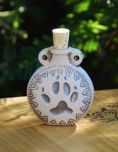 Paw Print Ceramic Bottle Natural . Spell Oils, Diffuser, Ashes, Pendant