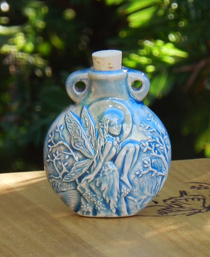 Faerie Ceramic Bottle . Spell Oils, Diffuser, Ashes, Pendant, Fairy