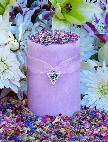 Brigids Bouquet Imbolc Alchemy Pillar Candles with Violet, Lily, Heather, Lavender, Hyacinth, WIld Jasmine, Winter Orchid