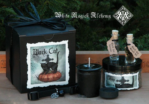 Black Cat Boxed Set of Magickal Goodies and Gifts for your Familiar
