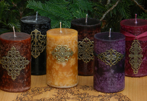 Brigid . Medieval Alchemy Pillar Candle for Imbolc with Moonlit Honeysuckle, Jasmine and Galbanum with soft notes of Blonde Woods