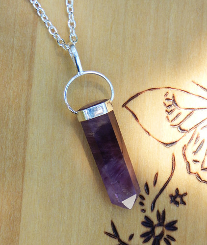 "Amethyst Pendulum Necklace The ""Change Stone"" for Protection, Spiritual Transformation, Healing"