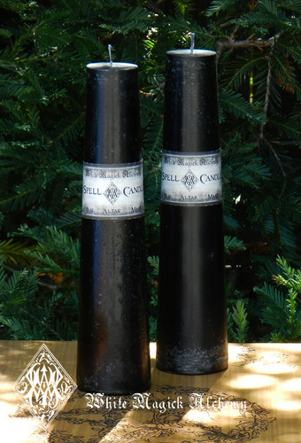 Black Altar Candles . Spirituality, Power, High Magick, Protection, Luck, Love, Money, Clearing, Positive Energy, Banishing